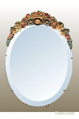 DUSX Barbola Floral Handpainted Oval Bevelled Table or Wall Mirror 30 x 43cm