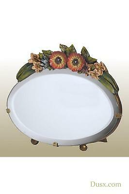 DUSX Barbola Floral Handpainted Oval Bevelled Table or Wall Mirror 12 x 19cm