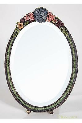 DUSX Barbola Floral Handpainted Oval Bevelled Table or Wall Mirror 23 x 33cm