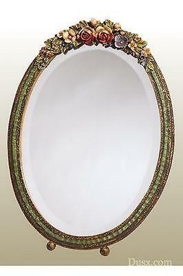 DUSX Barbola Floral Handpainted Oval Table or Wall Bedroom Mirror 23 x 31cm
