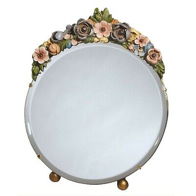 DUSX Barbola Floral Handpainted Round Bevelled Table or Wall Mirror 25 x 25cm