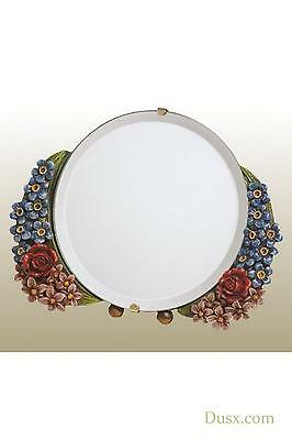 DUSX Barbola Floral Handpainted Round Table or Wall Bedroom Mirror 15 x 15cm