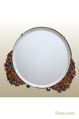 DUSX Barbola Floral Handpainted Round Table or Wall Bedroom Mirror 25 x 21cm