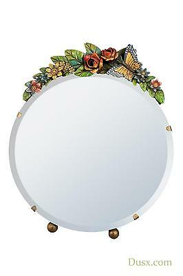 DUSX Barbola Floral Handpainted Round Table or Wall Bedroom Mirror 20 x 25cm
