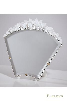 Barbola Floral Gold Gilt Leaf Table or Wall Bedroom Mirror 17 x 15cm Antiques