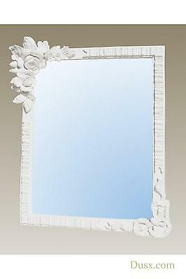 DUSX Barbola Floral White Chalk Paint Table or Wall Bedroom Mirror 22 x 29cm