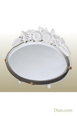 DUSX Barbola Floral White Chalk Paint Oval Table or Wall Mirror 12 x 19cm