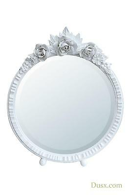 DUSX Barbola Floral White Chalk Paint Round Table or Wall Mirror W20 x H20cm
