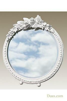 DUSX Barbola Floral White Chalk Paint Round Table or Wall Mirror 22.5 x 25cm