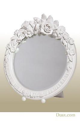 DUSX Barbola Floral White Clay Paint Round Table or Wall Mirror 20 x 20cm