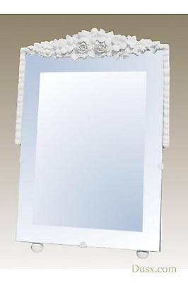 DUSX Barbola White Clay Paint Decorative Table or Wall Bedroom Mirror 15 x 23cm