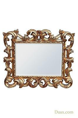 Baroque Antique Style Gold Overmantle Wall Bedroom Hall Mirror 87 x 104cm