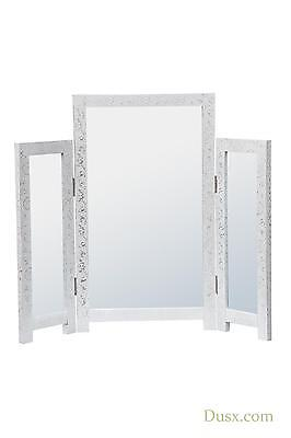DUSX Chaandhi Kar White-Silver Embossed Triple Dressing Table Mirror 75 x 65.5cm