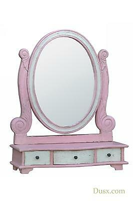 DUSX Isabella Hand Carved Wood Pink & White Dressing Table Mirror with Drawers