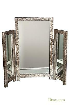 DUSX Moc Croc Silver Embossed Retro Style Triple Dressing Table Mirror 75 x 66cm