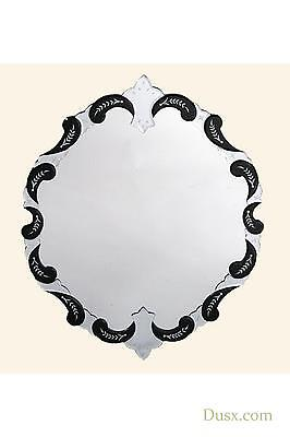 DUSX Venetian Antique Style Etched Black Framed Round Decorative Wall Mirror
