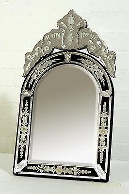 DUSX Venetian Arched Clear & Black Etched Table or Wall Mirror 30 x 55cm