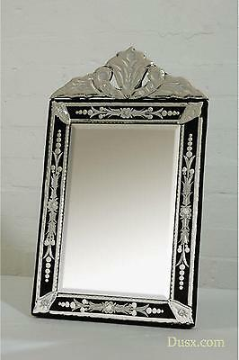 DUSX Venetian Clear & Black Etched Table or Wall Bedroom Hall Mirror 30 x 50cm