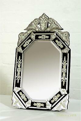 DUSX Venetian Hexagonal Black & Clear Etched Bevelled Table Mirror 30 x 61cm