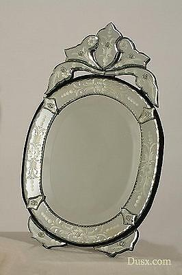 DUSX Venetian Oval Clear Etched Bevelled Decorative Table or Wall Mirror