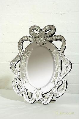 DUSX Venetian Ribbon Clear Etched Oval Decorative Table or Wall Mirror