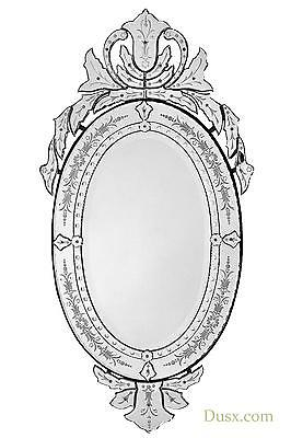 DUSX Vintage Venetian Antique Style Etched Oval Decorative Wall Bedroom Mirror