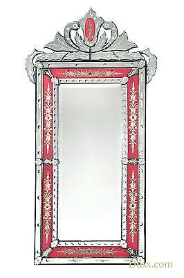 DUSX Vintage Venetian Antique Style Pink & Clear Etched Decorative Wall Mirror