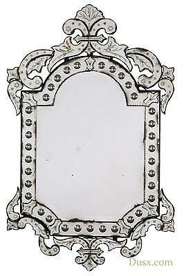 DUSX Vintage Venetian Antiqued Etched Glass Decorative Wall Bedroom Hall Mirror