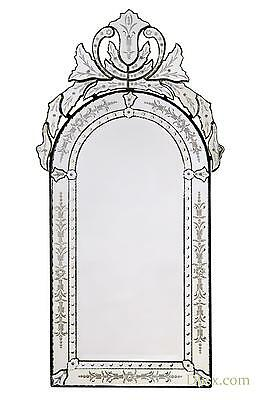 DUSX Vintage Venetian Arched Antique Style Etched Decorative Wall Bedroom Mirror