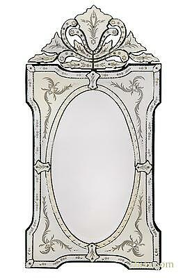 DUSX Vintage Venetian Etched Antique Style Decorative Wall Bedroom Hall Mirror