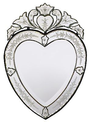 DUSX Vintage Venetian Heart Shaped Antique Style Etched Decorative Wall Mirror