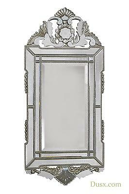 DUSX Vintage Venezia Murano Antique Style Iridescent Silver Etched Wall Mirror