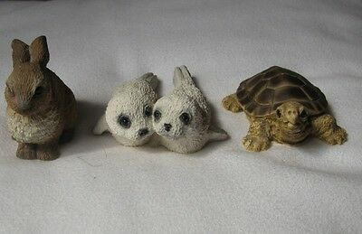 3 Stone Critters figurines/ornaments,Tortoise, Rabbit,Seal pups + free doormouse