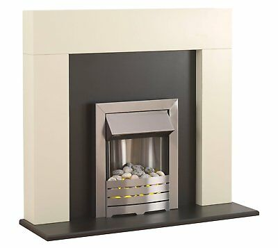 Electric White Fireplace Black Fire Surround Pebbles Modern Silver Inset