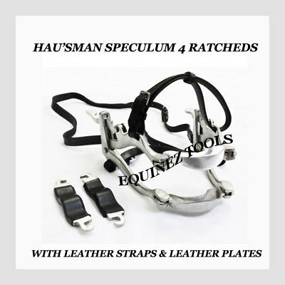 Equine Dental Speculum Horse Mouth Gag with leather plates + Leather McPherson