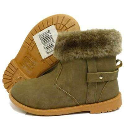 Kids Childrens Girls Tan Snug Fur Zip-Up Ankle Warm Winter Boots Shoes Sizes 5-3