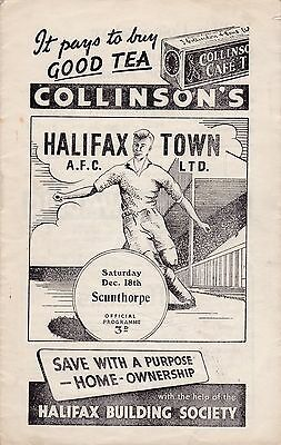 1954/55 HALIFAX v SCUNTHORPE UNITED (Division 3 North) - VERY RARE PROGRAMME