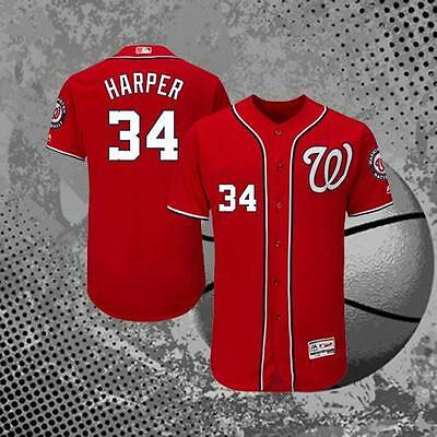 Washington Nationals Bryce Harper 34# Baseball Jersey Red M L XL 2XL 3XL
