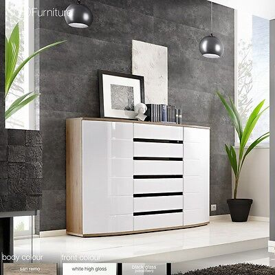 Modern Chest Drawers Cabinet Sideboard Buffet Cupboard Glossy ONTARIO Free P&P