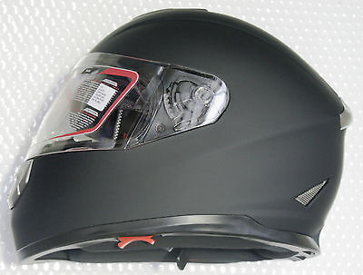 Full face road helmet, adult sizes, Matte black, 5 tick Aust. Std, dual visor