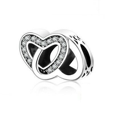 925 Sterling Silver EURO Entwined Hearts CZ Charm +FREE Pandora Cloth