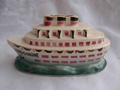 ANTIQUE FRENCH EARTHERNWARE NORMANDIE BOAT MONEY BOX,EARLY 20th CENTURY.