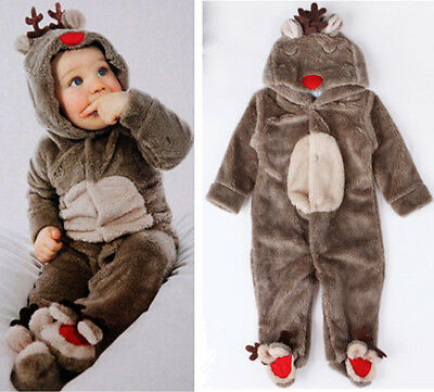 Baby Boys Girls Deer Winter Romper Outfits Jumpsuit Bodysuit Babygrow One-piece