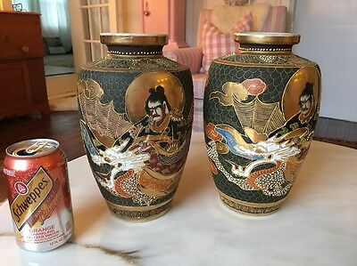 Pair Antique Japanese Signed Satsuma Pottery Vases Moriage Dragon Vintage