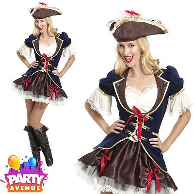 Pirate Captain Buccaneer Costume Ladies Shipmate Fancy Dress Womens