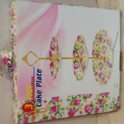 Brand New 3 Tier Cake Server Stand with Handle in Original Box