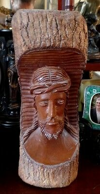 Large Wooden Carved Bust of Jesus 12 inches Tall