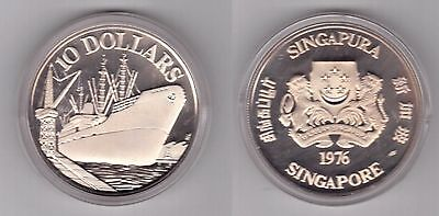 Singapore – Silver Proof 10$ Coin 1976 Year Ship Km#15 + Box + Coa