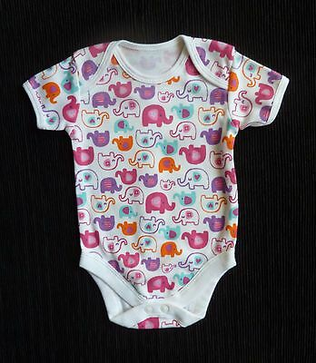 Baby clothes GIRL 0-3m bright pink/white/aqua/purple/ora elephants soft bodysuit