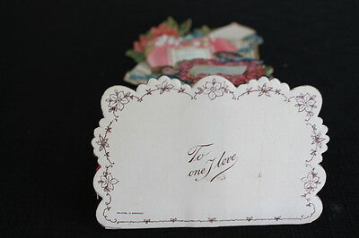 vintage Victorian Honeycomb Valentine Greeting Stand up Card red tissue Germany